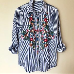 Floral Embroidered Button Down Oxford Shirt